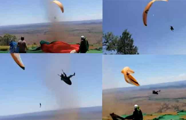 Paragliding Feats in Tornado
