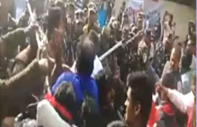 Police Laticharage On Communist Leader