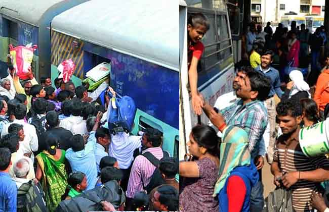 Sankranthi Effect, Bus, Railway Stations Crowded With Passengers