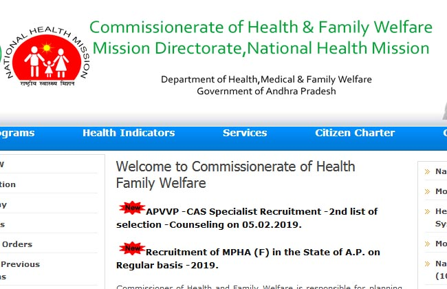 AP Health Department Job Notification