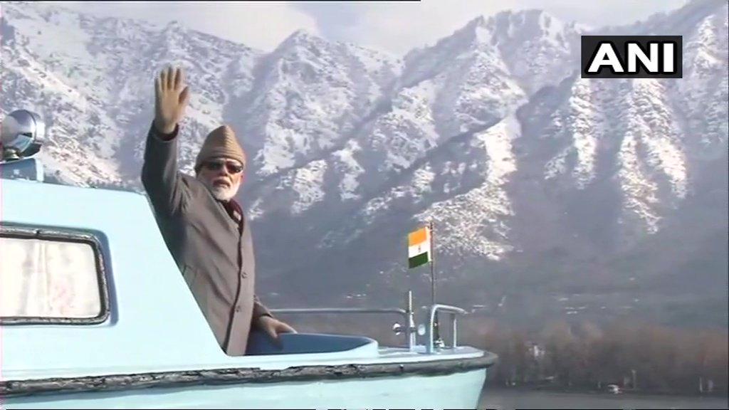 Visuals of Prime Minister Narendra Modi at Dal lake in Srinagar.