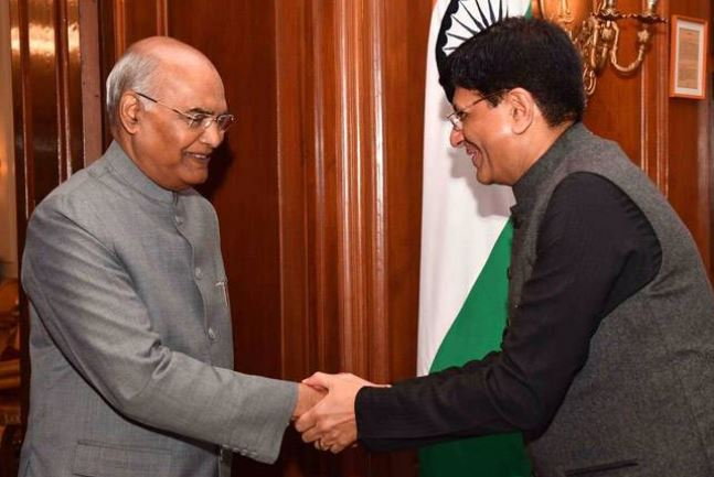 FM Piyush Goyal meets President Kovind before presenting the Union Budget 2019
