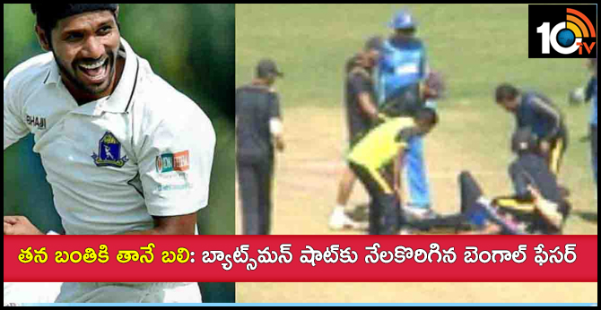 bengal pacer ashok dinda hit on the forehead