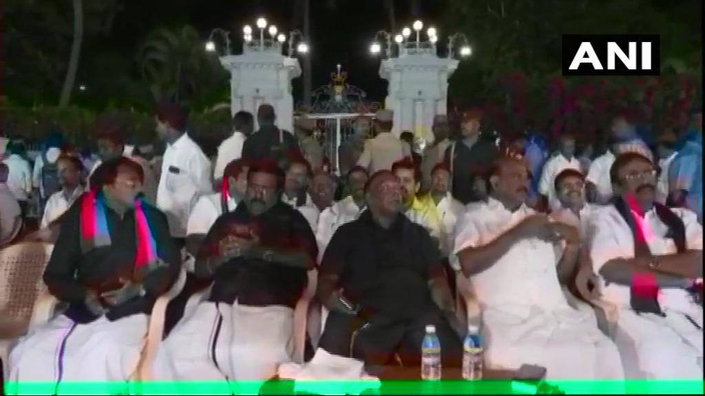CM V Narayanaswamy continues to protest in front of Raj Nivas against Governor Kiran Bedi.