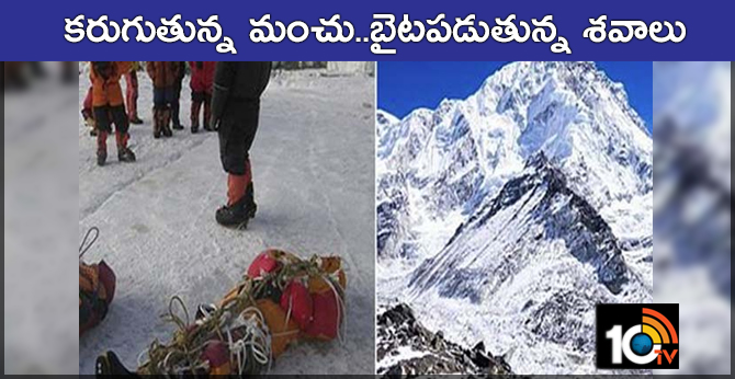 Corpses are exposed to snow melting on Mount Everest with global warming effect