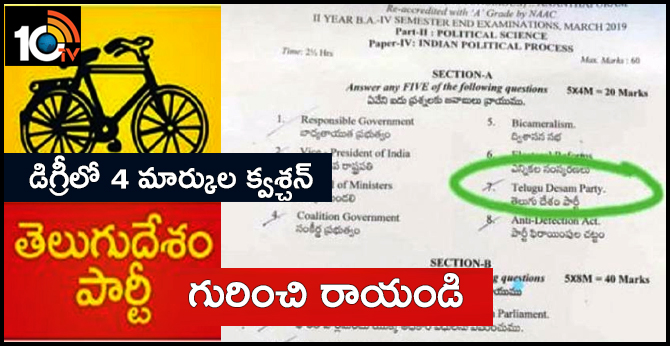 Write About Telugu Desam Party, Question For Degree Students