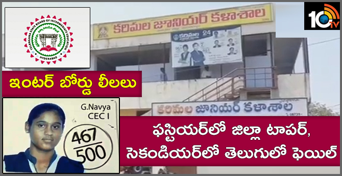 District Topper Fail In Telugu