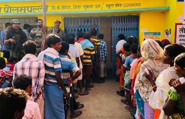 Voters who came to polling stations in Chhattisgarh Dantewada