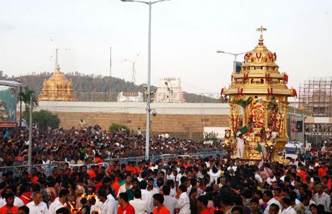 Malayappa Swamy rides on golden chariot marking Vasanthotsavam
