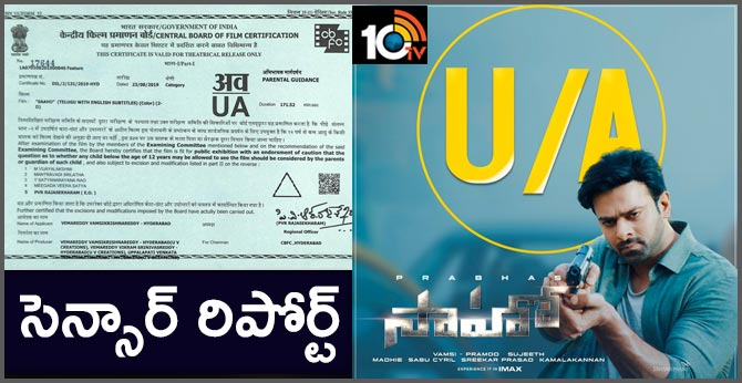 Action packed entertainer Saaho Censored with U/A certicate