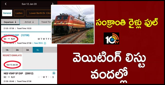 pongal trains full, waiting list tickets available