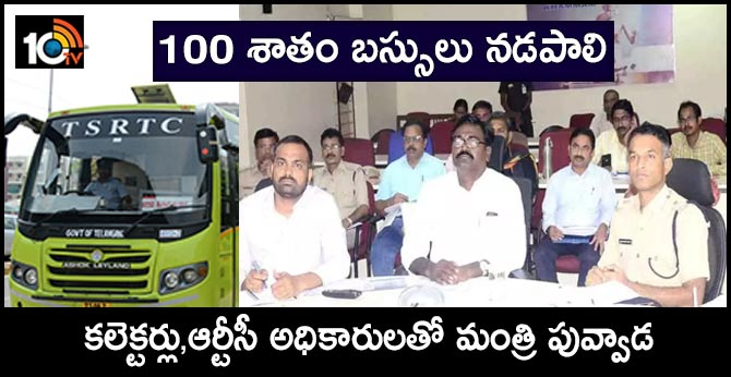 Minister Puvvada Video Conference with Collectors and RTC Officers