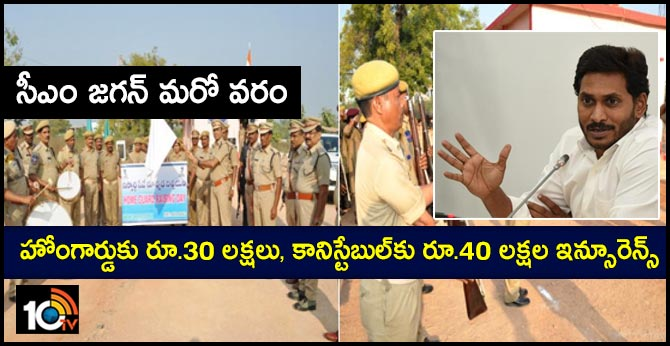 cm jagan announce insurance coverage for home guard, police