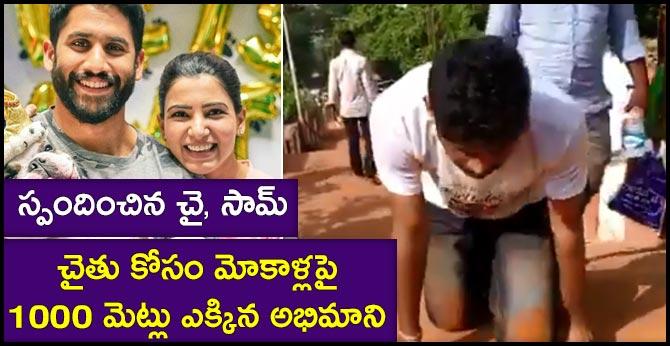 Naga Chaitanya's crazy fan climbs 1000 steps on knees at Simhachalam