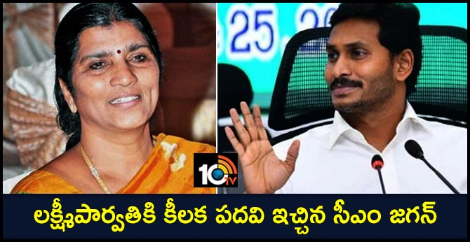 cm jagan key post for lakshmi parvathi