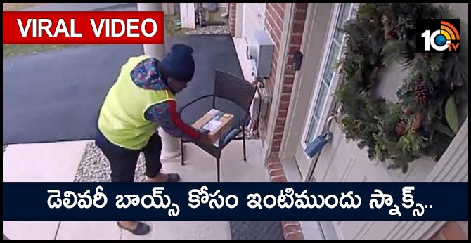 Amazon Delivery Boy Hilarious Reaction to Basket of Treats Outside Delaware Home