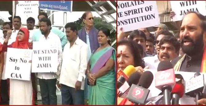 Congress leaders protest against CAA in Hyderabad