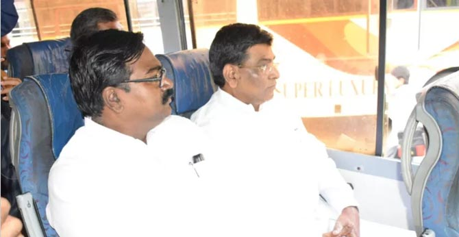 Minister Puvvada ajay kumar traveled in an RTC bus