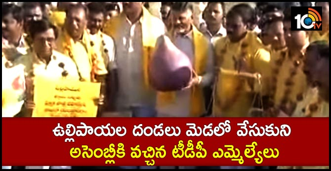 TDP MLAs protest on onion prices