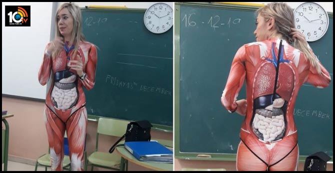 Teacher Gives Anatomy Lesson In A Full-Body Suit That Maps Out The Human Body In Sharp Detail