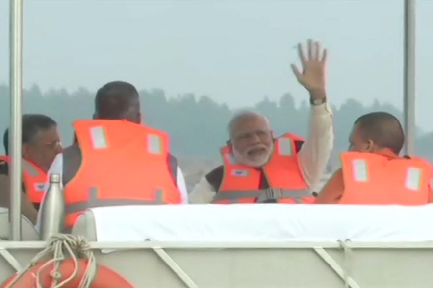 Kanpur: Prime Minister Narendra Modi takes a boat ride in river Ganga at Atal ghat,