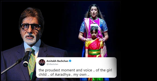 proudest moment and voice .. of the girl child .. of Aaradhya , my own Amitab Bachhan