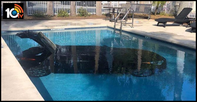 Car Lands In Hotel Swimming Pool in Florida.. Pictures Spark Hilarious Reaction