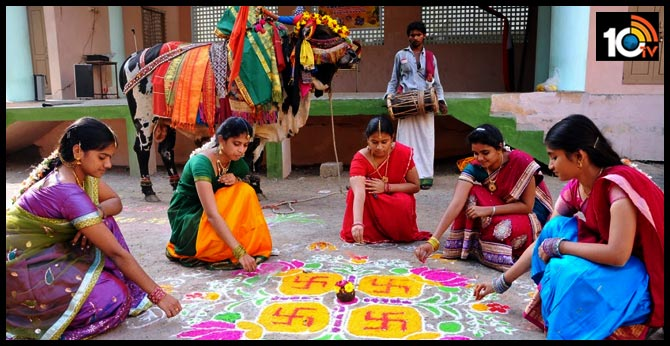 sankranti festival : Colorful Rangolis and young girls kolatam