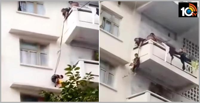 Grandma Dangles 7-YO Grandson From 50-Feet-High Balcony by Rope to Rescue Her Trapped Cat