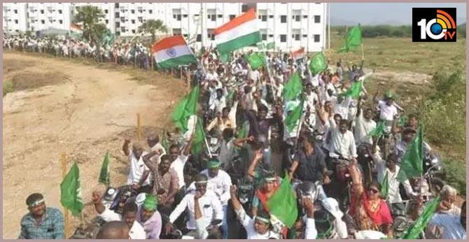 Huge rally of farmers for Amravati