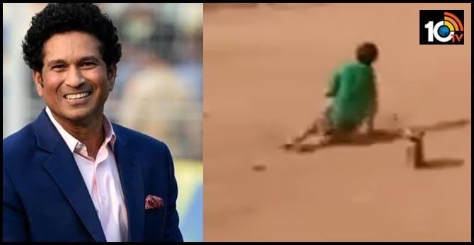 Sachin Tendulkar shares video of disabled boy playing cricket