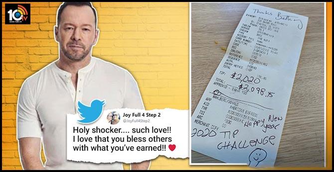 Singer, Actor Donnie Wahlberg Praised After Leaving $2,020 Tip For Server