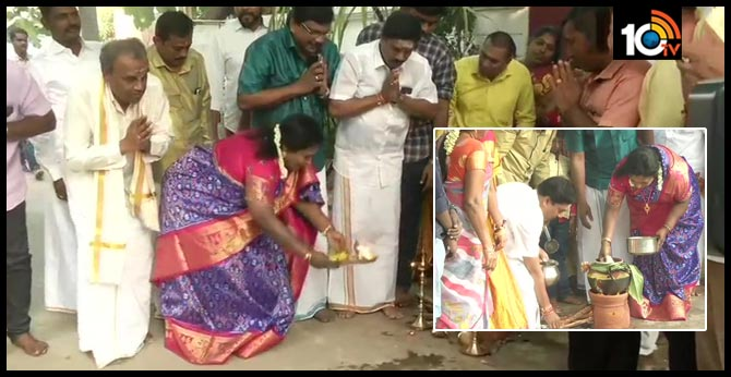 Telangana Governor Tamilisai Soundararajan celebrates the festival of Pongal in Chennai