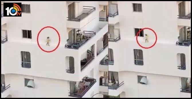 Viral Video: Child Walks On Building Ledge On Third Floor