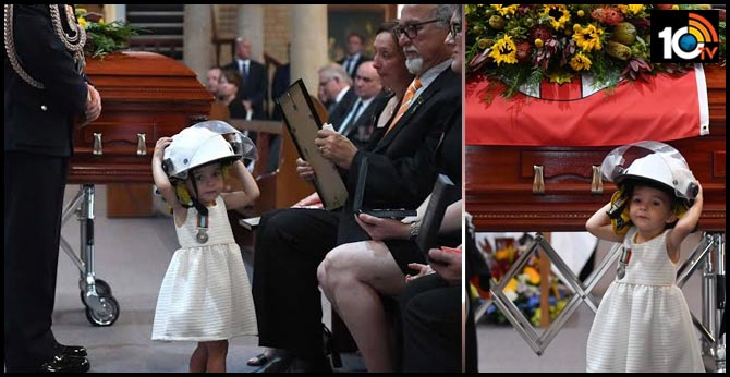 australia Bush Firefighter andrew odwyer funeral daughter Baby Charlotte Father Helmet