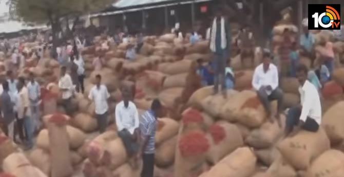 robbery the name of corona virus in Khammam Mirichi market
