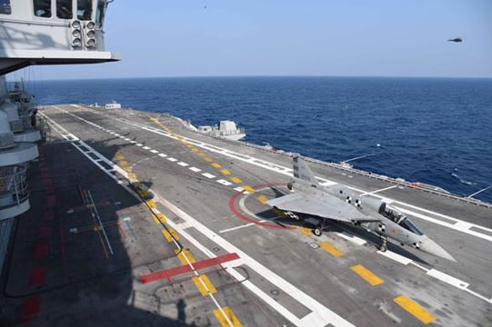 Landing by the Naval Light Combat Aircraft on-board the aircraft carrier INS Vikramaditya
