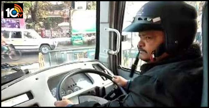 west bengal Siliguri:  State Transport Corporation bus driver wears a helmet in wake of protests during BharatBandh called