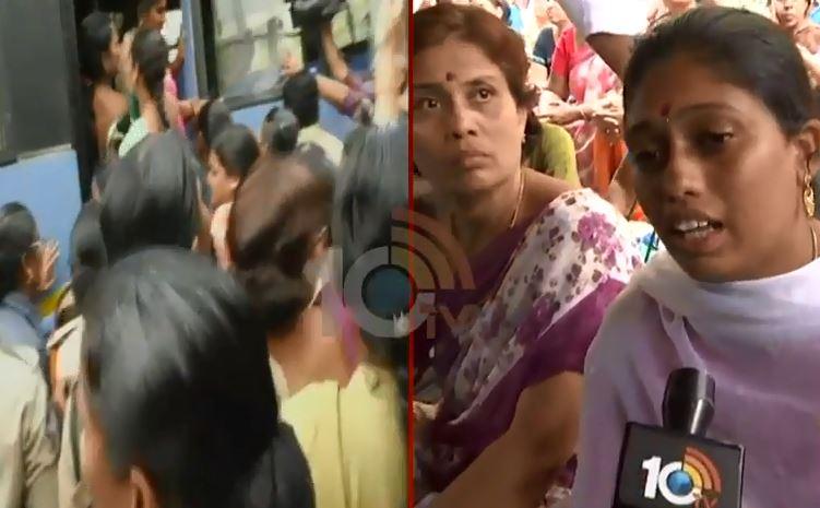 Amravati Mandadam women fire on police..Three Capitals Issue