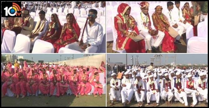 1100 hindu and muslim couples mass wedding ceremony in ahmedabad gujarat