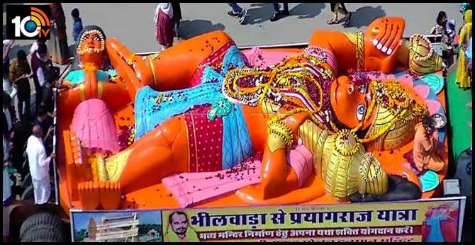 Allahabad city ,Weight of 64 tonnes, 28 feet long hanuman statue of shree brought to Prayagraj