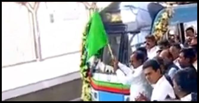 CM KCR launched the JBS-MGBS Metro train