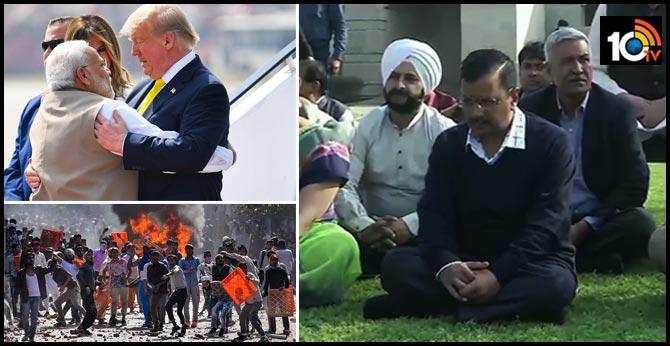 Delhi CM Arvind Kejriwal, deputy CM Manish Sisodia and other Aam Aadmi Party (AAP) leaders at Raj Ghat.