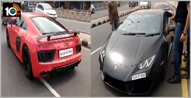 Racing in cars in Hyderabad, two arrested