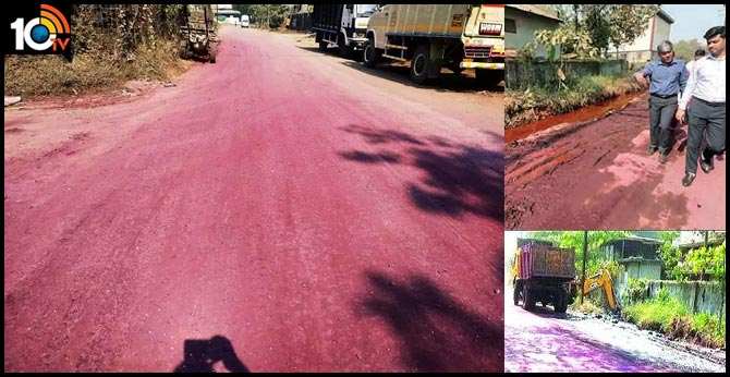 Roads Changes Into Pink Colour Due To Pollution On Thane