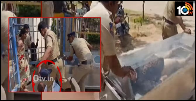 The police who beat the parents Tension In Sangareddy Patancheru Area Hospital