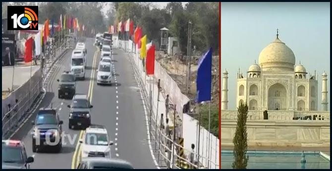 Trump, Melania Trump received by UP Governor Anandiben Patel and CM Yogi Adityanath in Agra.