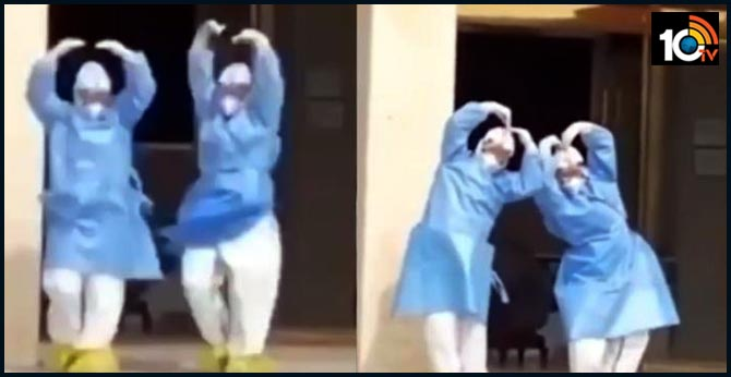 medical staff dances after coronavirus recovery in patients in China