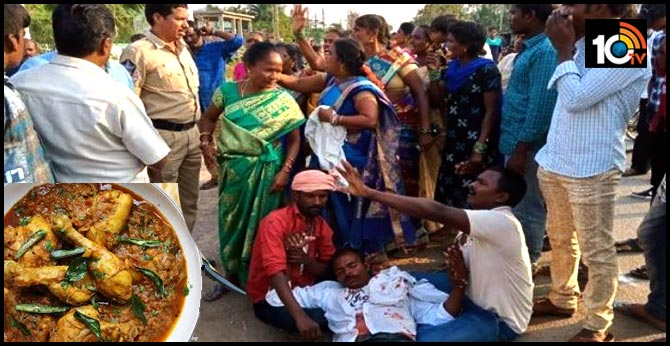 ap Srikakulam people started fighting marraige about chicken curry Issue