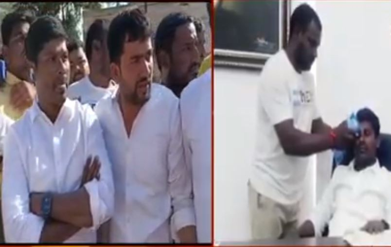 Conflict between Congress and TRS activists .... MLA guvvala balaraju injured